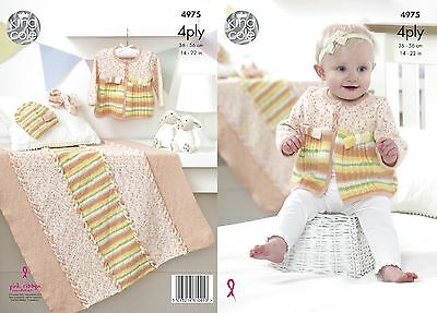 KINGCOLE 4975 baby 4ply Knitting Pattern -sizes 14-22in Not the finished items