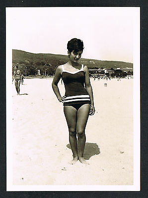FOTO vintage PHOTO, Frau Badeanzug Strand Bademode woman swimwear beach /57g