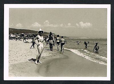 FOTO vintage PHOTO, Frau Bikini Dame Strand Bademode woman swimwear beach /57h