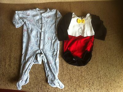 Baby Boy Two Body Suits For 3 Month And 2-4 Month Olds In Grey And Red