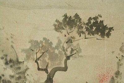 Hanging Scroll Japanese Painting Landscape Japan Antique Picture 豊彦 岡本 Old b405