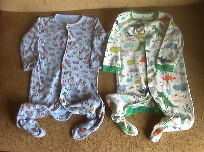 Baby Boy Two Body Suits For 6-9 Month Olds In Blue And White/Green