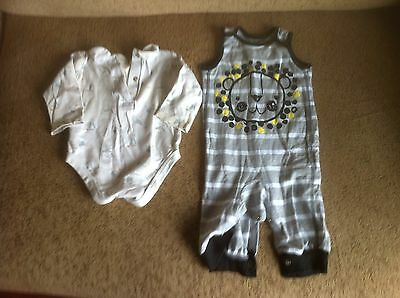 Baby Boy Two Body Suits For 3-6 Month Olds By Mothercare & Nutmeg In Grey/White