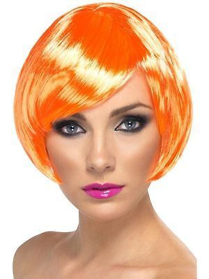 Fire Coral Babe Wig Short Bob w/ Fringe Adult Womens Smiffys Fancy Dress Costume