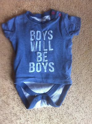 Baby Boys Body Suit & Attached T-Shirt For 3-6 Month Olds By Mothercare  In Blue