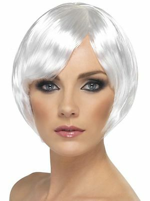 White Babe Wig Short Bob with Fringe Adult Womens Smiffys Fancy Dress Costume