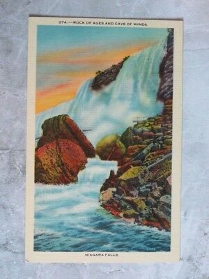 Vintage 1930s Linen Postcard r: Rock of Ages & Cave of Winds Niagara Falls NY