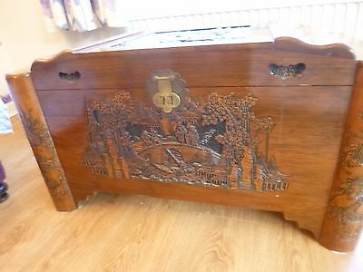 Antique Camphor Wood Chest Oriental Used