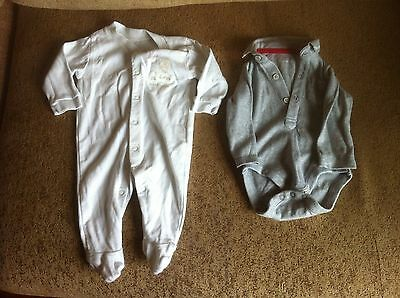 Baby Boy Two Body Suits For 0-3 Month Olds By George And Nutmeg In White/Grey