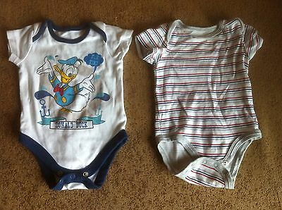Baby Boy Two Body Suits For 0-3 Month Old By Mothercare & Sterling Baby In White