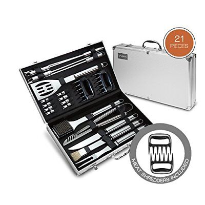 Outdoor 21 Pcs Stainless Steel BBQ Grill Cooking Tools Set With Storage Case New
