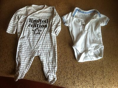 Baby Boy Two Body Suits For Up To 3 Month Old By Next In White