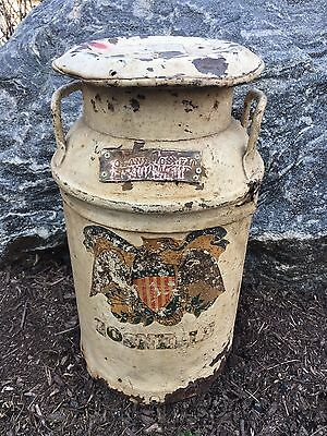 Vintage Roland Gosnell Mt Airy Maryland MD Dairy Farm Milk Can Metal Cow