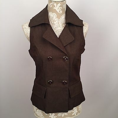 NWT: New York & Company Sleeveless Brown Collared Double-Breasted Vest Size 2