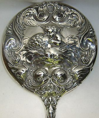 Unger Bros Love's Dream Sterling Silver Dresser Hand Mirror Art Nouveau