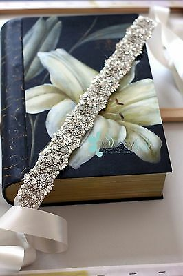 Wedding Bridal Sash/Belt Beaded Swarovski Crystal,Pearl & Rhinestones Flower