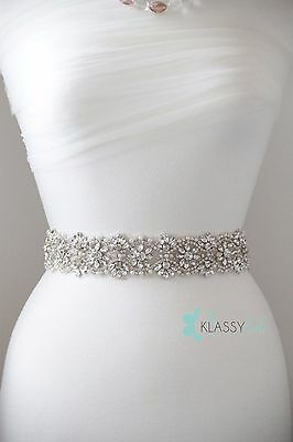 Crystal Bridal Sash/Belt Beaded with In and Out Swarovski Crystal Flowers