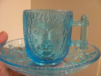 EAPG ca. 1880's Blue - Boy & Girl Face Cup & Saucer Set - Near Mint Condition