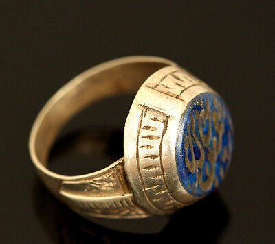 Near Easter Vintage Persian Lapis Lazuli Solid Silver Tribal Ring US Size: 7.5