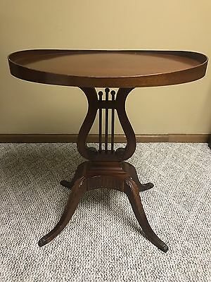 Antique Vintage Victorian Mersman 6651 Mohogany Sofa Lamp Table Oval Harp Lyre
