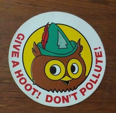 Woodsy Owl Give a Hoot Don't Pollute Sticker circa 1970's