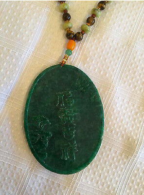 Carved Jade and Gemstone Pendant and Necklace