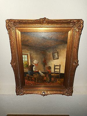 Old oil painting,{ Mother with her child indoors, is signed, nice frame}.