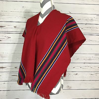 Medium Sized Mexican Poncho Red Yellow Blue Striped