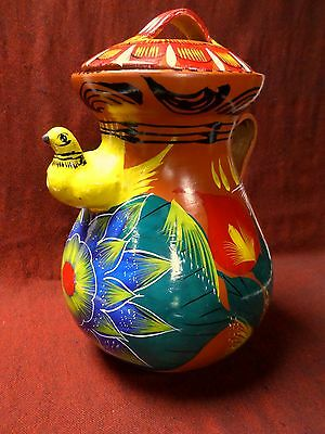 """Lg 15"""" Mexican Redware Clay Pottery Water Vessel Pitcher Hand Painted Bird Spout"""