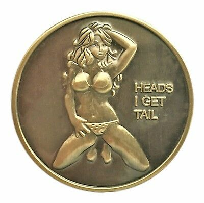 Poster Pin Up Bikini Babe Heads Tails Good Luck Challenge Coin Art Gift for Man