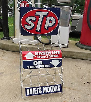 Vintage STP OIL CAN RACK HOLDER SERVICE STATION DISPLAY SIGN