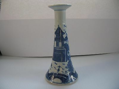 Canton Candlestick porcelain Antique Blue and White 8 inches tall