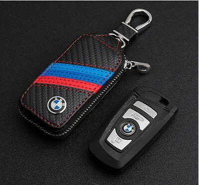 High-grade leather Car Remote Key Chain Holder Case Bag Fit For BMW Auto