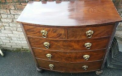 Antique Victorian Flame Mahogany Chest Of Drawers oversized statement piece ☆☆