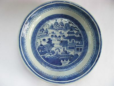 Canton bowl porcelain Antique Blue and White 9.25 inches in diameter