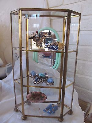 VTG Brass & Glass 6 Sided Curio Jewelry/Miniatures Tabletop Display Case 10""
