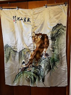 """Vintage Chinese Lion Embroidery Silk Wall Hanging Size 42"""" X 51"""" (Post 1940's)"""