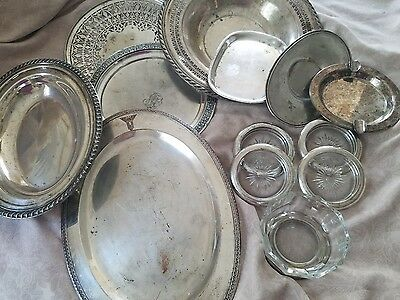Mixed Lot of 13 Silver Plate Trays, Bowls, Coasters