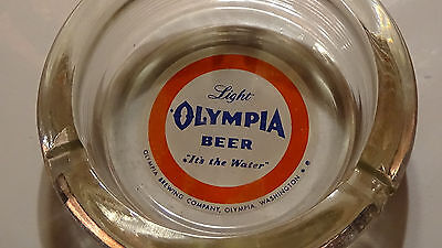 RARE OLYMPIA BEER 1950S  ( BLOCK GLASS VARIANT) BREWERY CASINO glass ASHTRAY