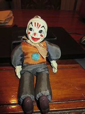 """Antique Celluloid Clown Toy Japan 8"""" Tall X 4 1/4"""" Wide X 2"""" Deep Can Be Hung Up"""