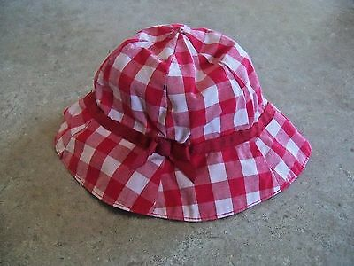 Gymboree  red and white check  Sun Hat baby girl  size 0-3 months
