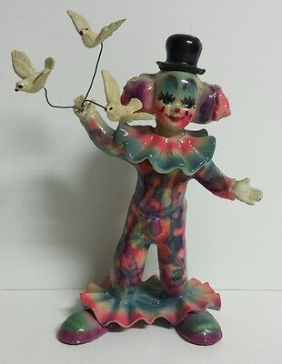 Vintage - Rare - Paper Mache - Creepy Clown With Birds - Free Shipping