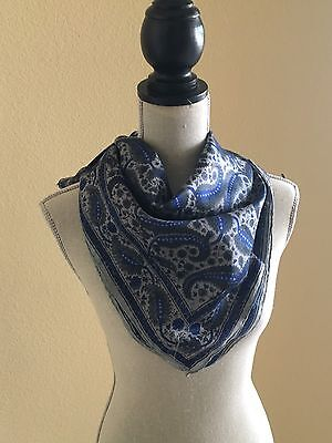 Vintage Blue and Grey Large Paisley Print 29 x 29 Silk Scarf
