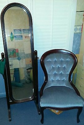 reproduction antique dress mirror and spoon back chair in nice condition