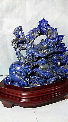 *rare* Chinese Blue Stone Carving Dragon Statue