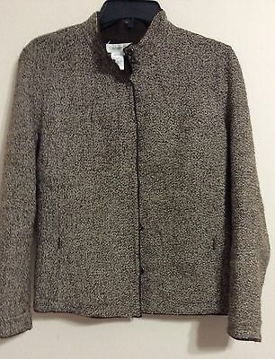 Coldwater Creek - Brown tweed jacket blazer Reversible Size PS
