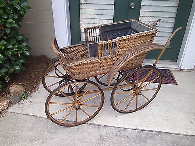 "Antique 1880's Victorian Wicker Pram or Baby Carriage ""Photographers Dream"""