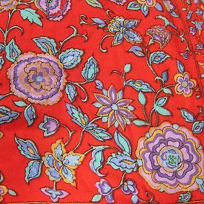 "Berkshire Vintage Scarf Red w/ Blue & Purple Floral Pattern Rayon 34"" Square"