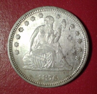 1876 seated liberty quarter xf/au details