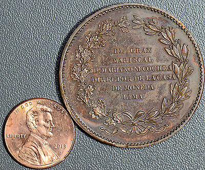 P0126 Peru 1837 8 Reales UNC bronze pattern struck for director of lima mint in